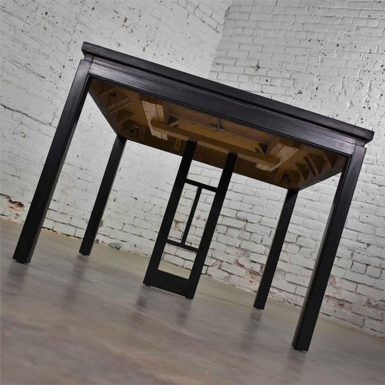Dyed Asian Parson Style Black Extension Dining Table with Two Aproned Leaves For Sale