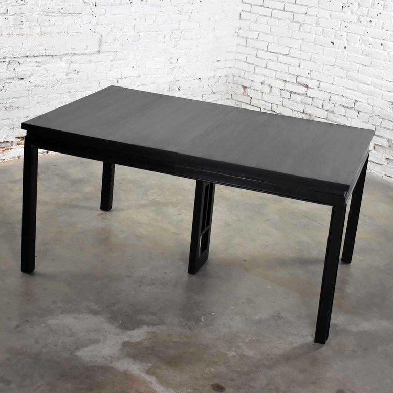 Asian Parson Style Black Extension Dining Table with Two Aproned Leaves In Good Condition For Sale In Topeka, KS