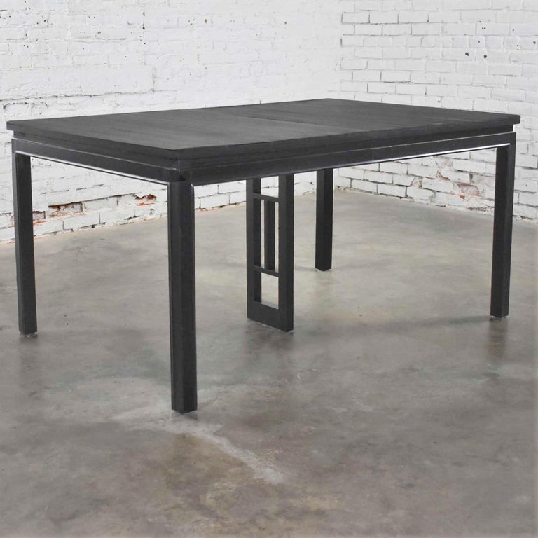 20th Century Asian Parson Style Black Extension Dining Table with Two Aproned Leaves For Sale