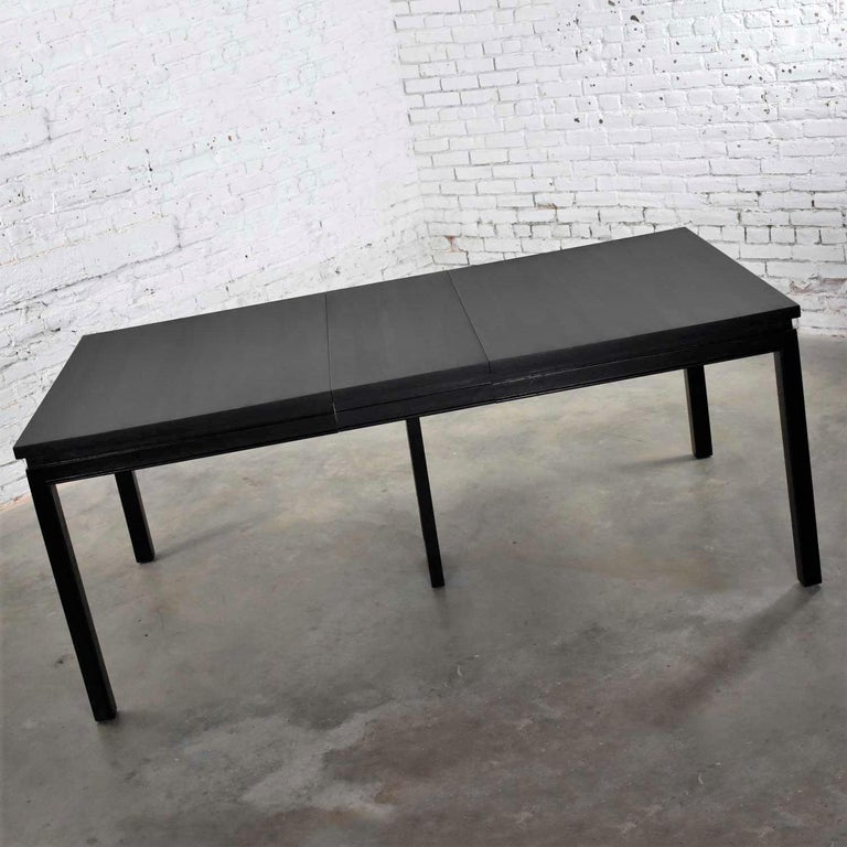 Ash Asian Parson Style Black Extension Dining Table with Two Aproned Leaves For Sale