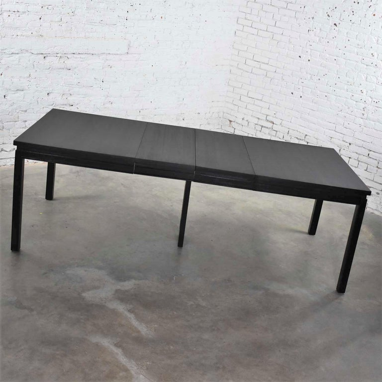 Asian Parson Style Black Extension Dining Table with Two Aproned Leaves For Sale 1