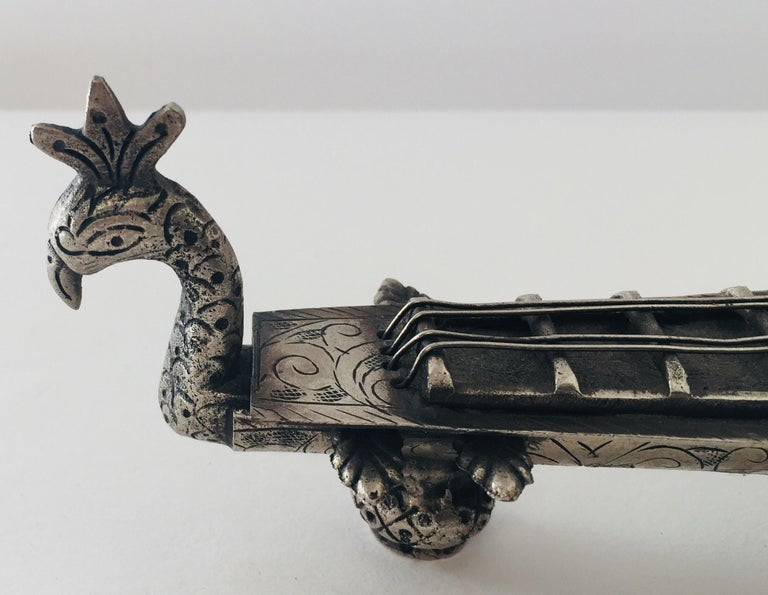 Hand-Crafted Asian Peacock and Veena Form Opium Pipe Holder Box For Sale