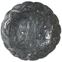 Asian Pewter Plate with Bodhisattva in the Garden, 19th Century