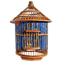 Asian Rattan Bird Cage Pagoda Lantern Lamp with Batik Fabric