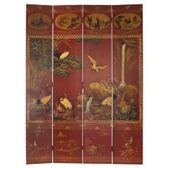 Asian Red Polychromed and Parcel Gilt Four Panel Screen