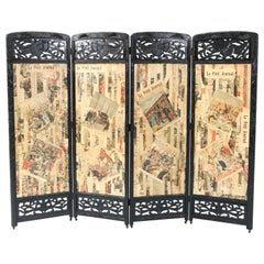 Asian Room Divider Screen with Colored Old French Newspapers, 1900s
