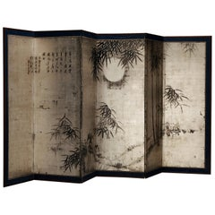 Asian Room Divider/Screen with Japanese Hand Painted Landscape