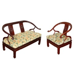 Asian Rosewood Armchair and Settee with Clarence House Fabric
