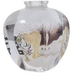 Asian Scenic Siberian Tiger Art Glass Perfume Bottle Paperweight Snuff, 1970s