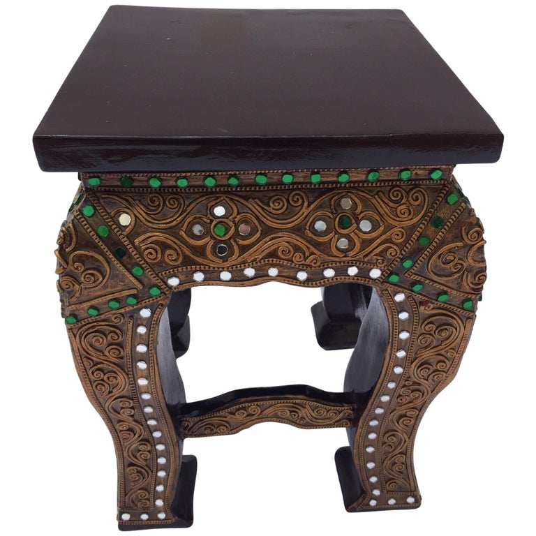 Fantastic Asian Small Low Wooden Temple Gilded Table Stand Customarchery Wood Chair Design Ideas Customarcherynet