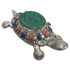 Asian Sterling Silver Turtle-Shaped Jewelry Box with Malachite and Turquoise