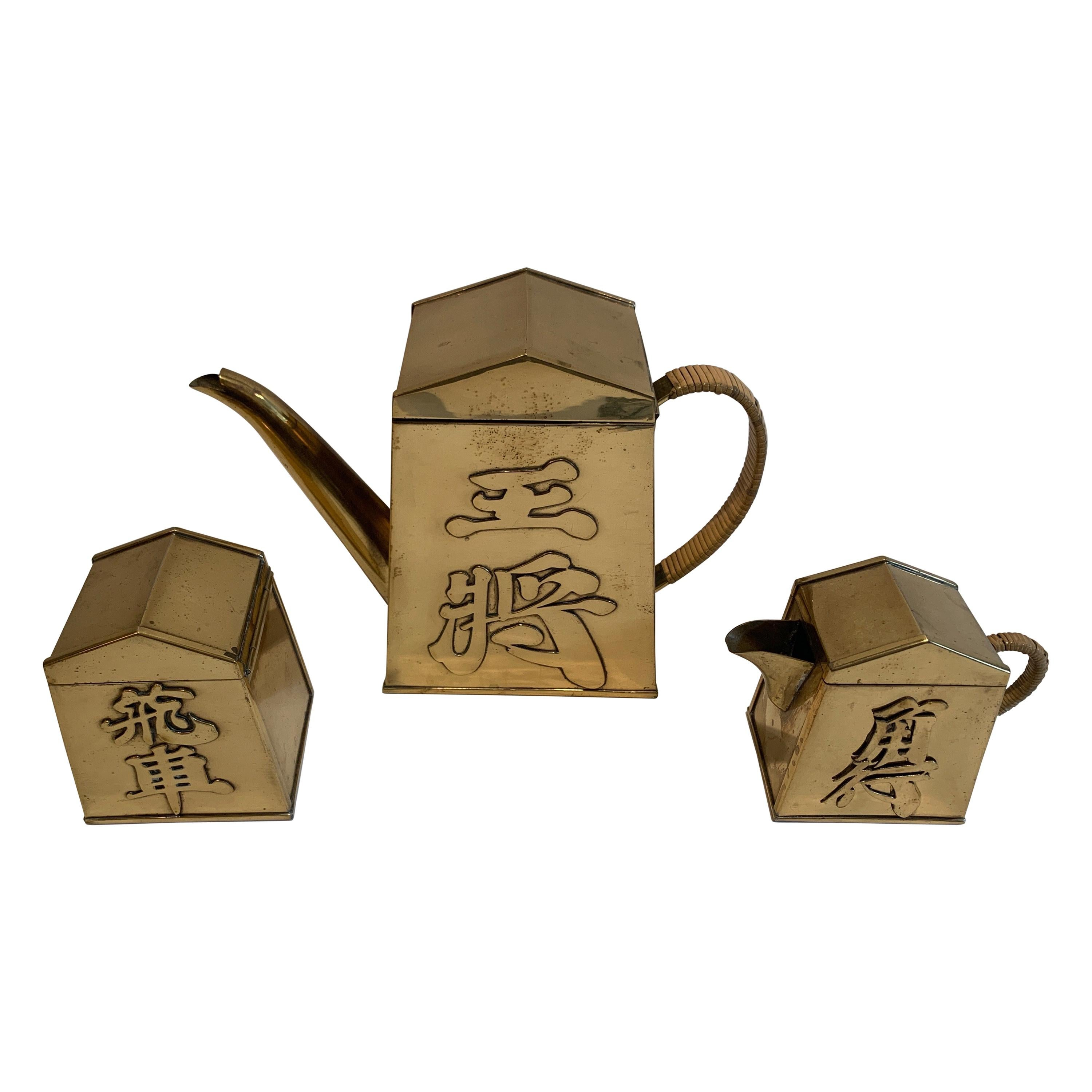 Asian Style 3 Piece Brass with Bamboo Covered Handled Tea Set, circa 1920s