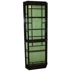 Asian Style Deep Black Lacquer Lighted Curio Display Cabinet
