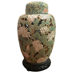 Asian Style Art Pottery and Enamel Ginger Jar Lamp
