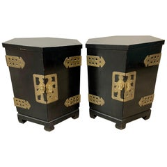 Asian Style Black Ebonized and Brass Hexagonal End Tables Nightstands