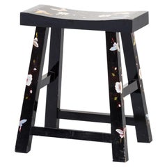 Asian Style Black Lacquered Hand Painted Stool with Butterfly