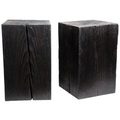 "Asian Style Black Solid Wood Cube Side Table Sho Shugi Ban (14"" x 14"")"