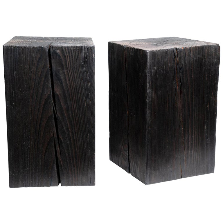 """Asian Style Black Solid Wood Cube Side Table Sho Shugi Ban (14"""" x 14"""") For Sale"""