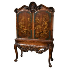 Asian Style Carved and Hand Painted Bookcase / Cabinet
