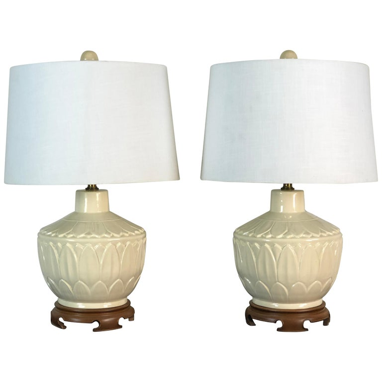 Asian Style Ceramic Lotus Leaf Table Lamps, Pair For Sale
