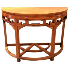 Asian Style Demilune Console Table