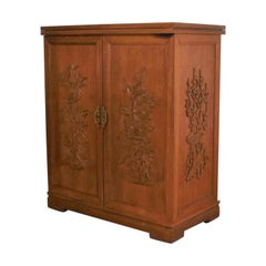 Asian Style Fold Out Chinoiserie Dry Bar in a Box Applied Carved Birds & Flowers