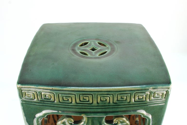 Chinese Export Asian Style Green Ceramic Garden Seat For Sale