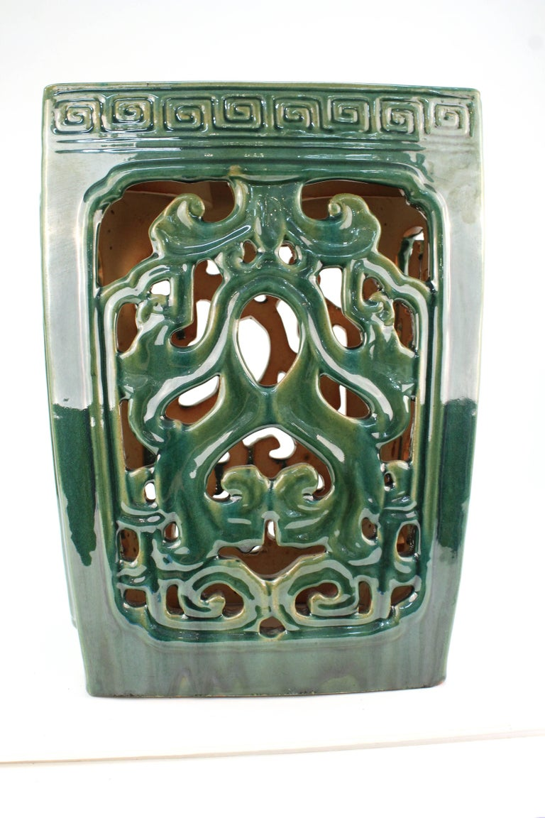 Asian Style Green Ceramic Garden Seat In Good Condition For Sale In New York, NY