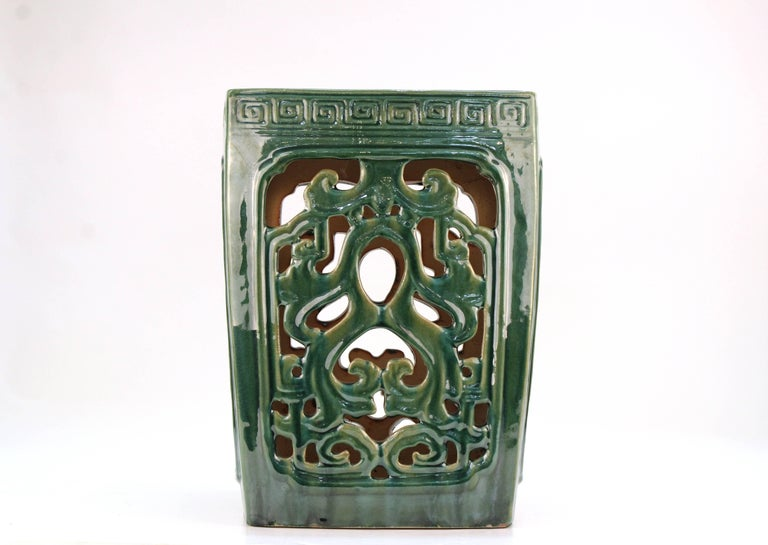 20th Century Asian Style Green Ceramic Garden Seat For Sale