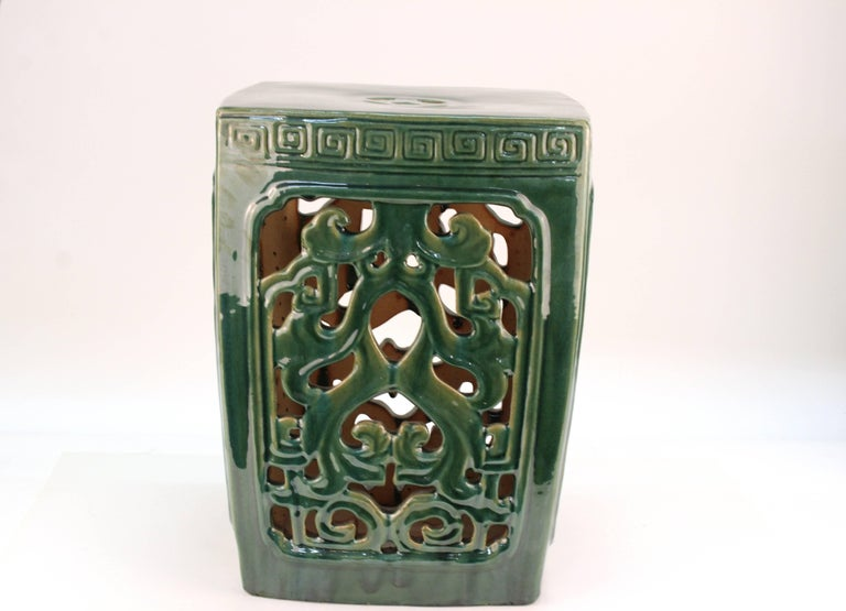 Asian Style Green Ceramic Garden Seat For Sale 1