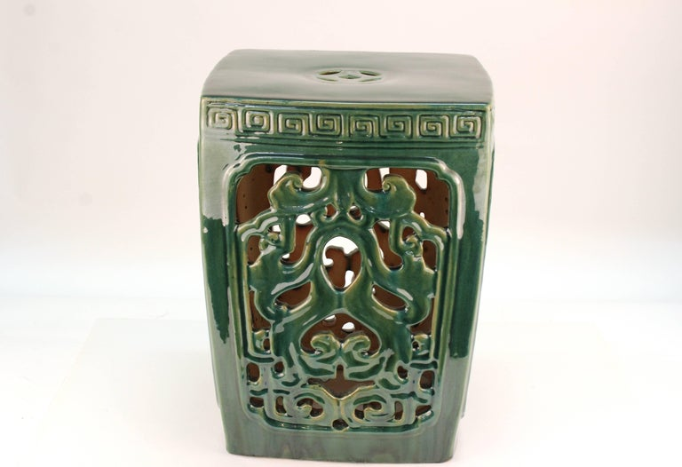 Asian Style Green Ceramic Garden Seat For Sale 2