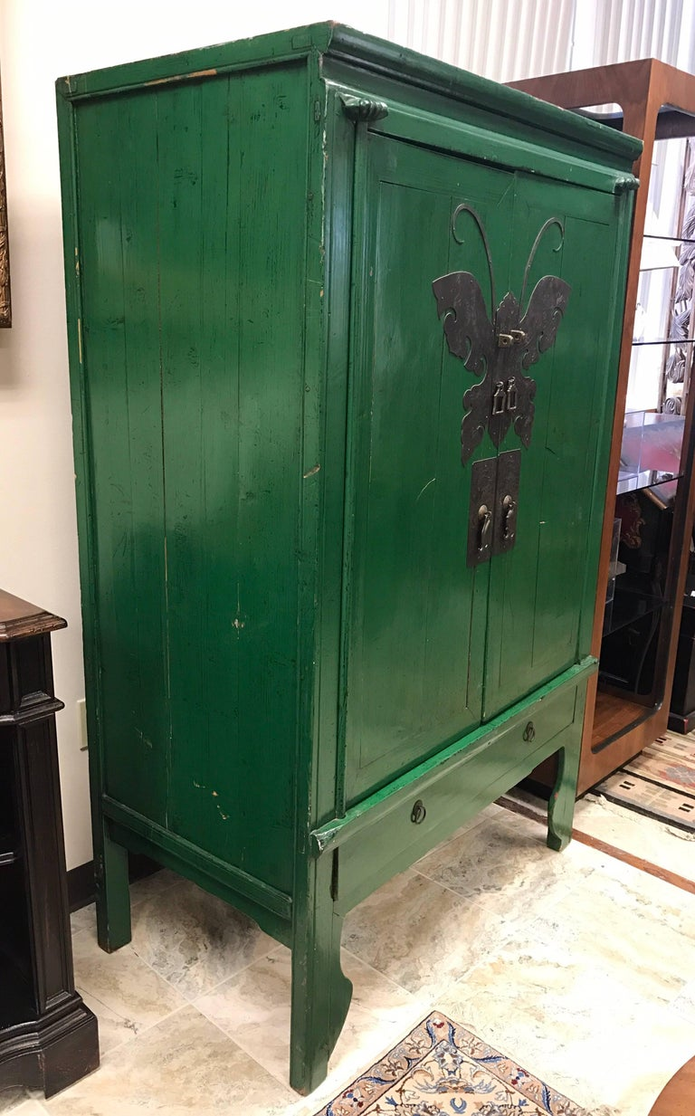 Asian Style Green Lacquer Cabinet Bar Armoire Butterfly ...