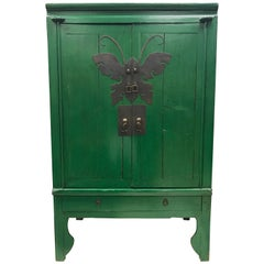 Asian Style Green Lacquer Cabinet Bar Armoire Butterfly and Fish Motif