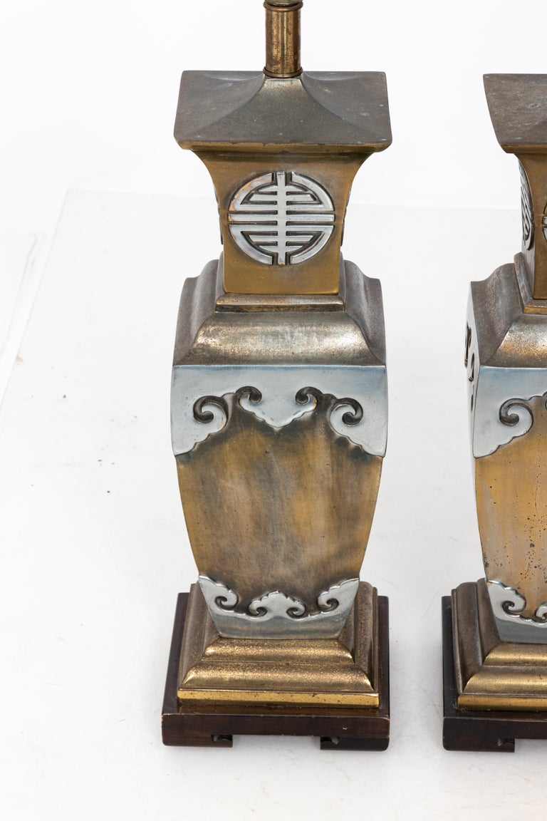 Mid-Century Modern Asian Style James Mont Pair of Lamps For Sale