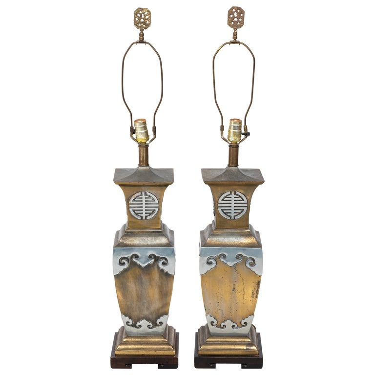 Asian Style James Mont Pair of Lamps For Sale