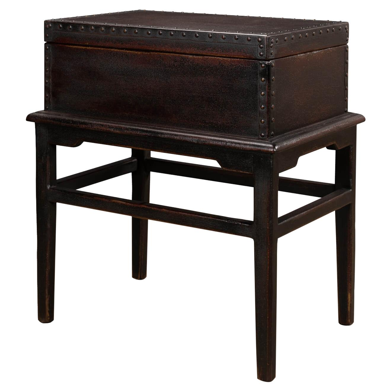Asian Style Leather Box on Stand