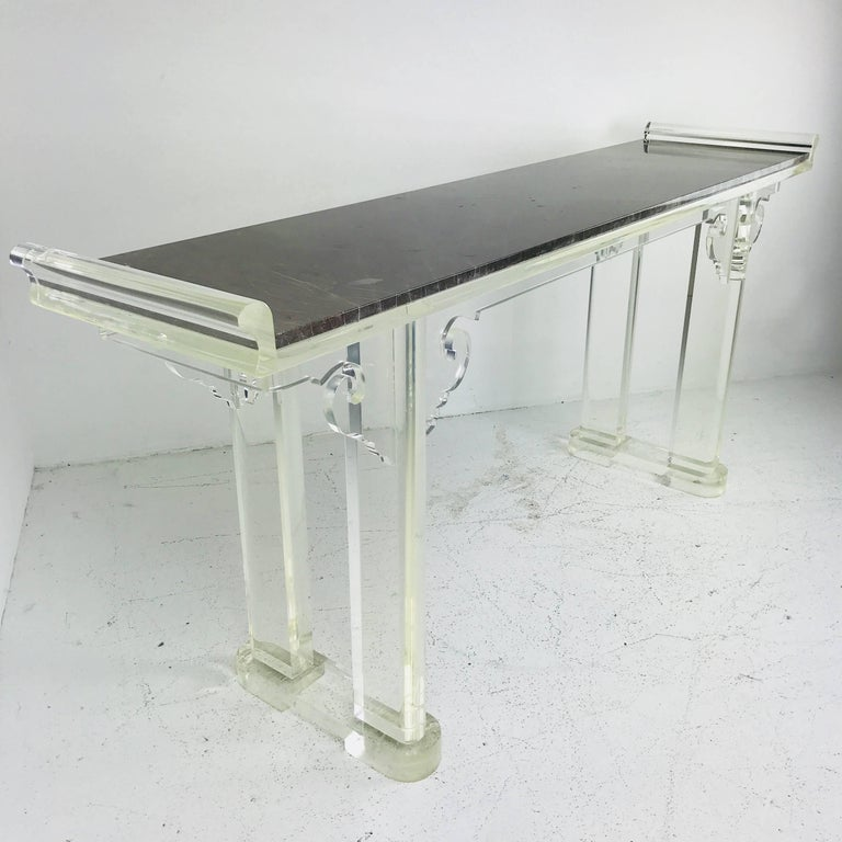 Asian Style Lucite and Marble Console Table In Good Condition For Sale In Dallas, TX