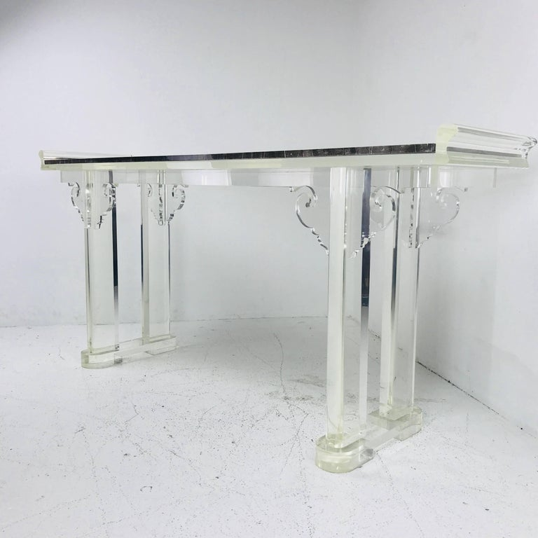 Asian Style Lucite and Marble Console Table For Sale 1
