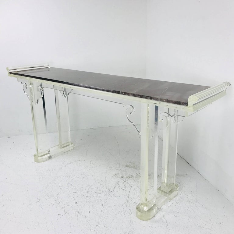 Asian Style Lucite and Marble Console Table For Sale 2