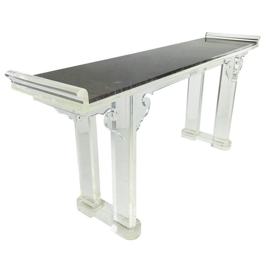 Asian Style Lucite And Marble Console Table For Sale At 1stdibs