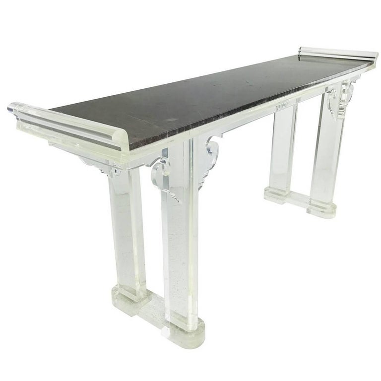 Asian Style Lucite and Marble Console Table