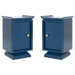 Asian Style Petite Nightstands with Brass Pulls in Marine Blue Lacquer, Pair