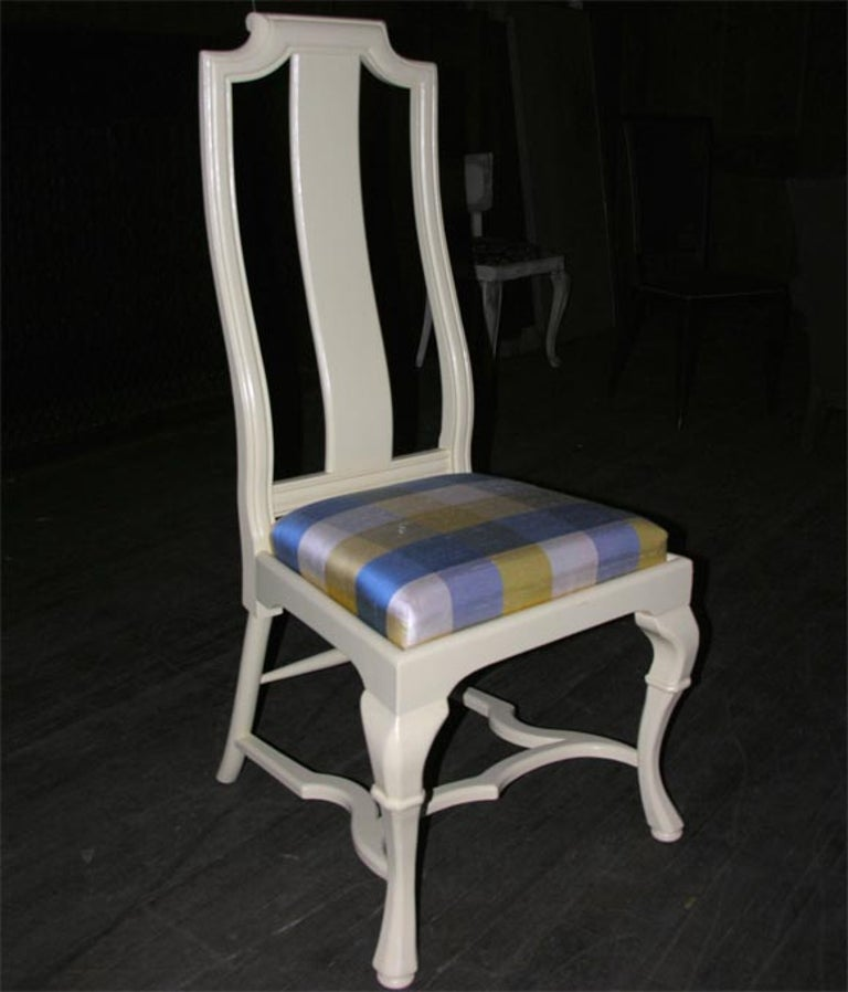 Pale yellow painted Asian style queen Anne side chair with a plaid silk covered seat cushion.