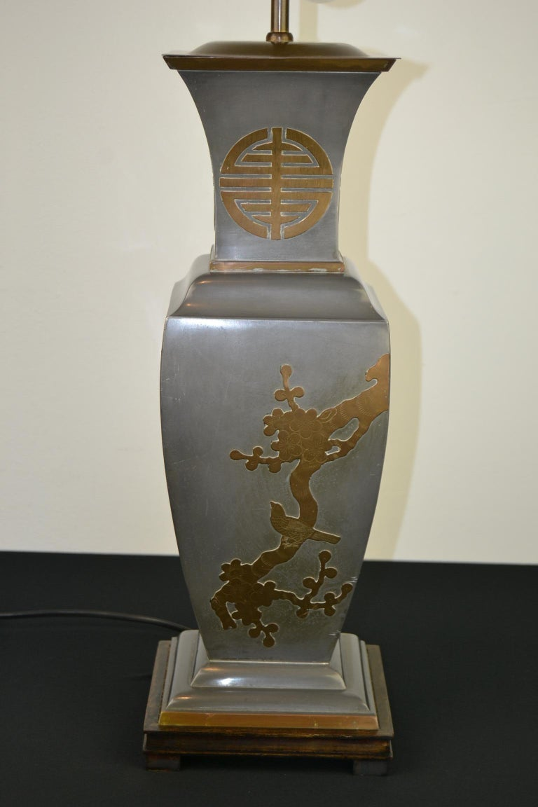 Asian Style Table Lamp, Metal with Brass, 1950s For Sale 3
