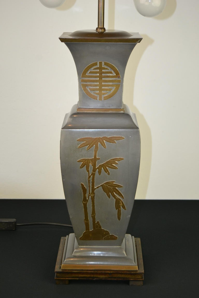 Asian Style Table Lamp, Metal with Brass, 1950s For Sale 4
