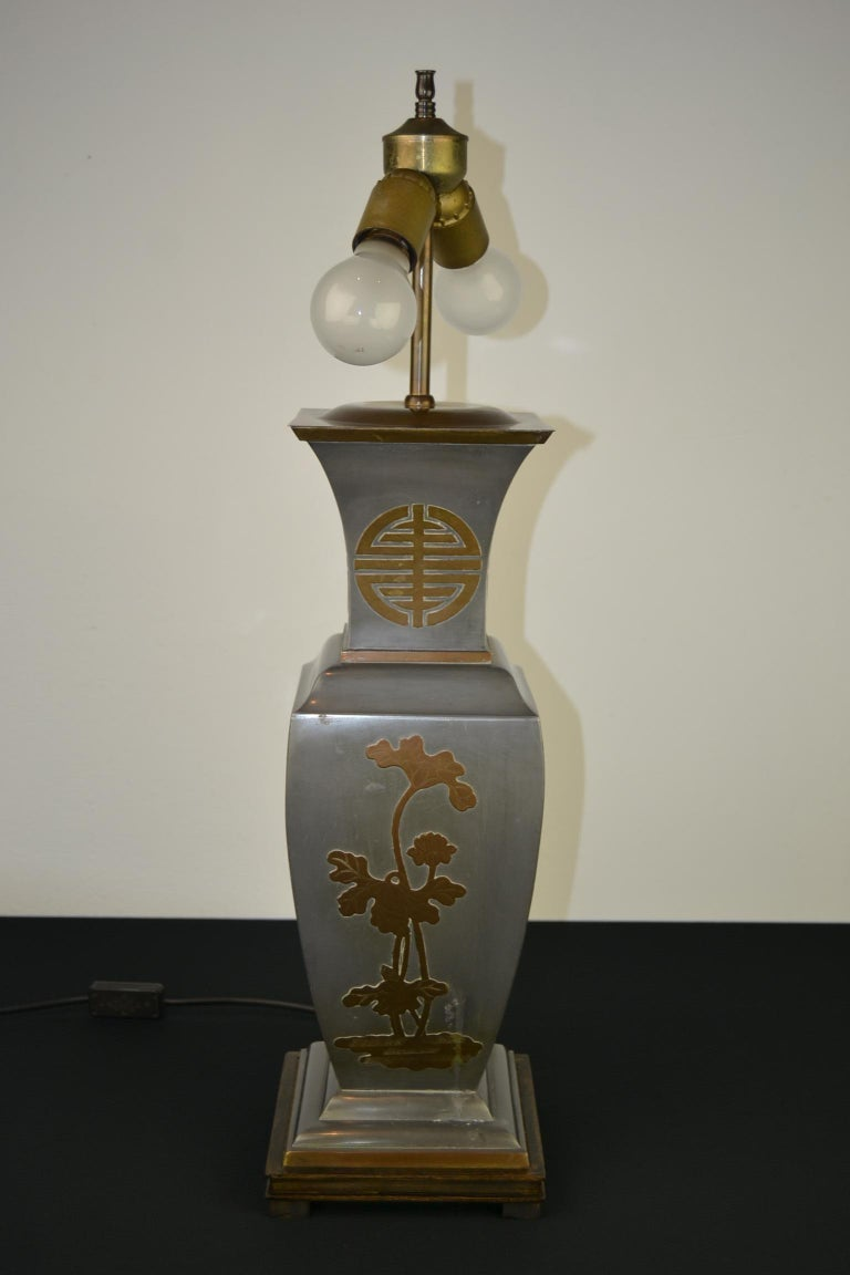 Asian Style Table Lamp, Metal with Brass, 1950s For Sale 6