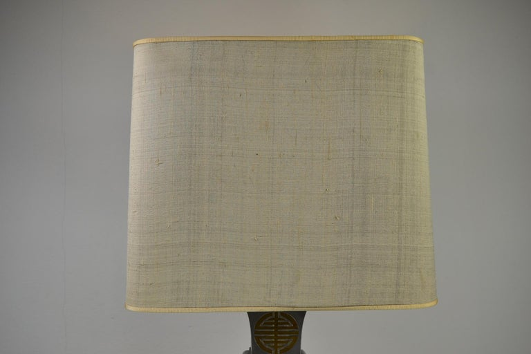 Asian Style Table Lamp, Metal with Brass, 1950s For Sale 8