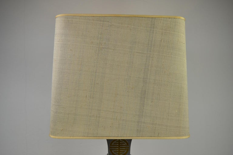 Asian Style Table Lamp, Metal with Brass, 1950s For Sale 9