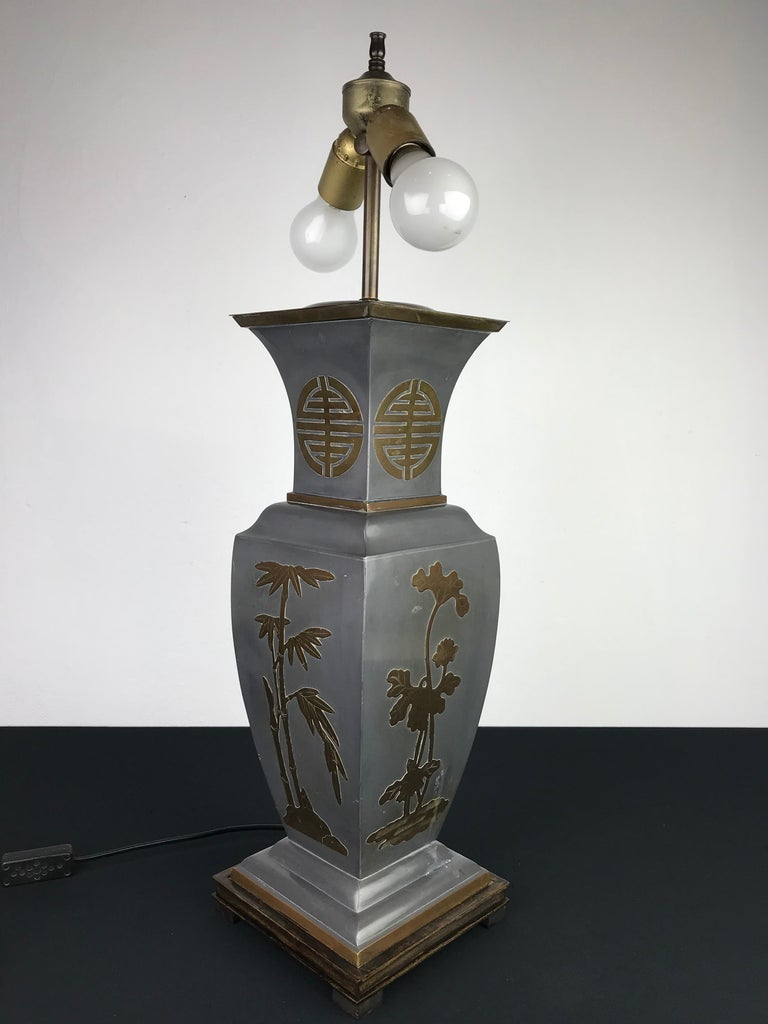 1950s Asian style table lamp of metal with brass.