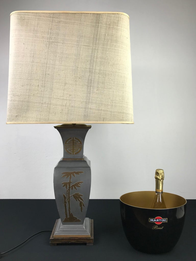 Asian Style Table Lamp, Metal with Brass, 1950s For Sale 13